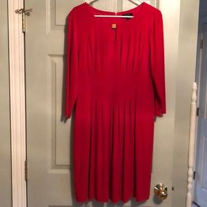 Tahari Red Pleated Dress with Keyhole Neckline